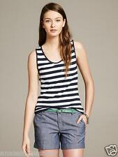 NWT Banana Republic Womens Top Shirt Tank Bold Stripe Knit Cross Back L $39