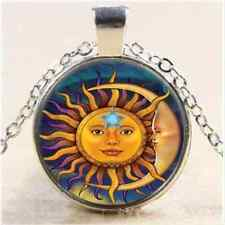Vintage Sun and Moon Cabochon Tibetan Silver Glass Chain Pendant Necklace