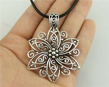 5pcs silver Color big flower Pendant Size 66*47mm Leather Chain Necklace