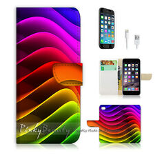 iPhone 7 (4.7') Flip Wallet Case Cover P0244 Rainbow Wave