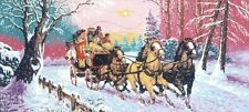 "Mail Coach & Horses In The Snow Tapestry Canvas - Diamant - 44"" x 19.75"""