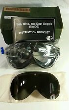 NEW NEVER USED.Military goggles.Mine safety & appliance co.sun,wind,&dust goggle