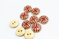 """Lot of 10 Round UK FLAG 2-hole Wood Buttons 5/8"""" (15mm) Scrapbook Craft (089)"""