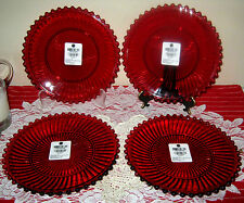MARTHA STEWART COLLECTION Set of 4 Ruby Red Glass Dessert Plates New