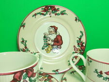 FITZ AND FLOYD CHRISTMAS DISHES SANTA'S LIST 4 SAUCERS + 4 CUPS 1994 EUC