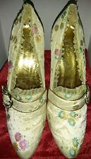 Victorian Style Fabric Decor Lace Trim Buckle Pumps High Heels Shoes