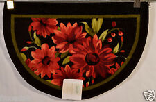 NOURISON RED FLOWER WHOLE HOME ACCENT RUG KITCHEN RUG/MAT 20X30 100% WASHABLE