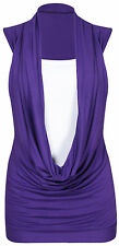 WOMENS STRETCH SLEEVELESS COWL NECK CONTRAST INSERT LONG VEST T-SHIRT TOP 8-26