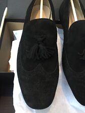 NEW $168 Jcrew Womens Georgie Suede Tassel Loafers Black Flat A9761 Size 9