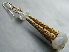 Art Deco Opalescent Crackle Glass Beads, Ornate Filigree & Rolled Gold Earrings