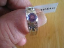 Gents Amethyst Sterling Silver Ring - Size T to U - Mattom Collection