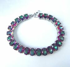 EXQUISITE  CHUNKY MYSTIC TOPAZ SILVER BRACELET 7""