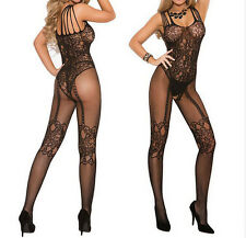 Sexy Women Crotchless Open Crotch Stockings Fishnet Sheer Body Dress Lingerie EY
