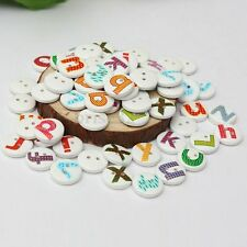 100Pcs Mixed Letter Round Alphabet Wooden Colorful Sewing Button Scrapbooking