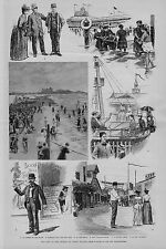 THE END OF THE SEASON AT CONEY ISLAND 1891 MUSEUM CRIER IRON PIER BATHERS BOWERY