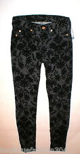 New Womens 24 Black 7 for all mankind Jeans Pants USA Floral Flocked Skinny Soft