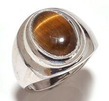 Natural Tiger Eye Gem Stone Men's Ring 925 Sterling Silver Jewelery Us 7 8