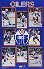 1989 Edmonton Oilers Collage Original Starline Poster Messier Kurri Fuhr Lowe