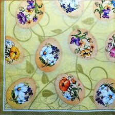 4 X  PAPER NAPKINS  Easter egg flowers DECOUPAGE CRAFTING-W1