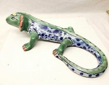 Vtg Hand Painted Mexican Pottery Iguana LIzard Figurine Statue Folk Art Talavera