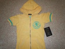 Sinful by AFFLICTION Ladies terry cloth short sleeve zip HOODIE New/Tags Small