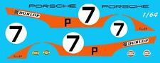 #7 Dunlap Porsche 917 1/64th HO Scale Slot Car Waterslide Decals