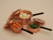 Dolls house food: Copper saucepans of vegetables   -By Fran