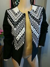 H&M Black White Faux Pearl Beaded Ethnic Embroidered Open Jacket 8