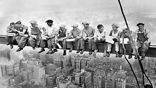 lunch on skyscraper framed canvas size new york antique print  black white large