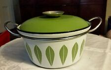 CATHRINEHOLM COVERED POT WHITE WITH GREEN  LOTUS DESIGN MID CENTURY  7 3/4 inch