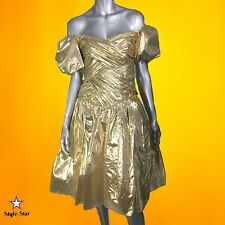 Vintage 80S Party Prom DRESS Metallic Gold Lame Off Shoulder Puff Sleeves S M