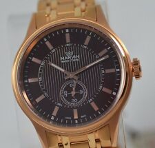 New Mens Marvin Brown Dial Rose Gold Sub Dial Swiss Made Luxury Dress Watch