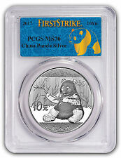 2017 China 30 gram Silver Panda MS-70 PCGS (First Strike) - Blue Label