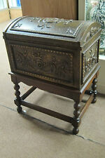 "ANTIQUE WOOD AND TIN HUMIDOR/TRUNK  ON STAND METAL LINED 26"" TALL X 19 1/2"" WIDE"
