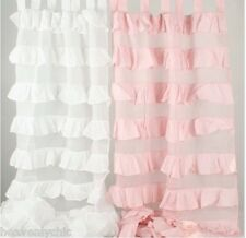 Shabby French Petticoat Ruffle Curtains Drapes Sheer Pink 2 Ruffled Panels Chic