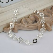 Women 925 Sterling Silver Fashion Charm Box Crystal Rhinestone Chain Bracelet