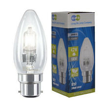 2 x Eco Halogen Candle 42W = 60w Energy Saving Light Bulbs B22 Bayonet Cap