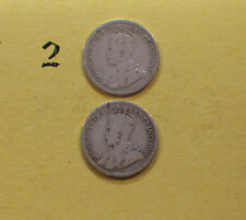 lot of 2 ten cents 10c  silver dime coin Canada...Can't Read Dates
