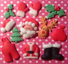 Edible Icing luxury FATHER CHRISTMAS DECORATIONS Hat  gloves jumper cake topper