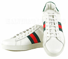 GUCCI SNEAKERS LACEUP TRAINERS WEB DETAIL CROCO BACK LEATHER 15D /48.5E
