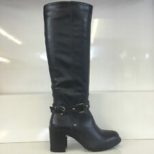 LADIES WOMENS BLACK KNEE HIGH LEATHER STYLE MID HEEL BOOTS SHOES SIZE 6