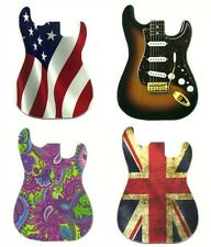4 Electric Guitar Shaped Magnets strat american flag union jack paisley magnet