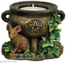 1 x CAULDRON & MOUSE TEALIGHT HOLDER Wicca Pagan Witch Goth