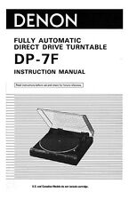 Denon DP-7F Turntable Owners Manual