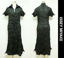 ISSEY MIYAKE A-Line Long Dress Wrinkled Processing Two-ply Design Black Size 2