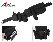 Black Tactical Security SWAT Police Utility Duty Belt w/ Pouches Gun Holster