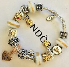 Authentic Pandora Silver Charm Bracelet With White Love European Charms