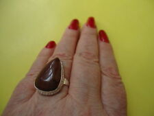 925 Sterling Silver Overlay Ring Brown Obsidian Natural Gemstone Size-8,0  #R54.
