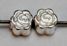 2 STERLING SILVER TINY SMALL ROSE FLOWER SPACER BEADS, 4 MM