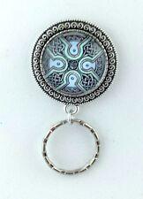 Celtic Design Glass Art Pendant Badge Eyeglass Holder Magnetic Pin Design #1